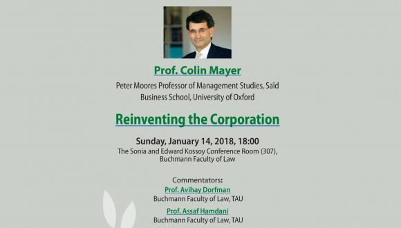 Safra Center hosting Prof.Colin Mayer, Reinventing the Corporation